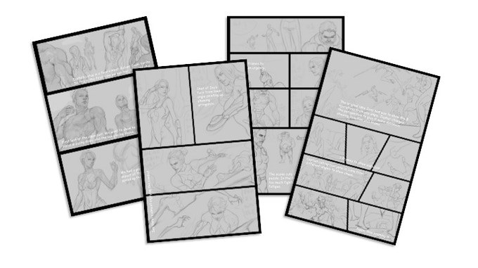 "Four pages of story panels (7"" x 10"") selected from important scenes of the graphic novel. Annotations of the writer's notes reveal how our own collaborative decisions were made while the written language was transformed into the visual."