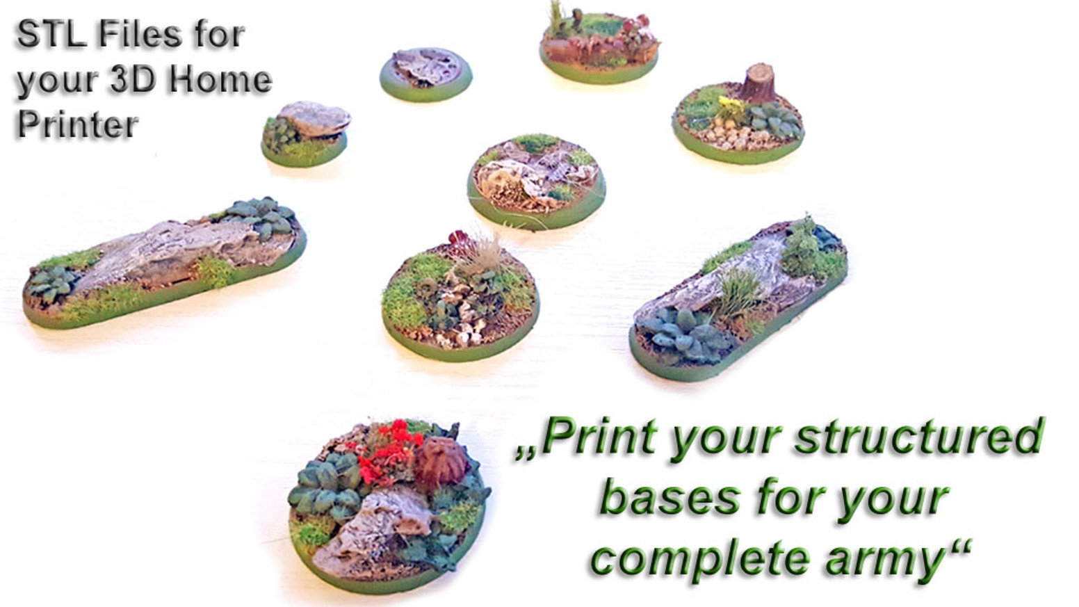 Print your own realistic bases for your complete army with your 3D home Printer!