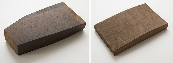 Milan wood keepsake #10 (left): 2.875 x 5.625 x 1 in. Milan wood keepsake #11 (right): 3 x 4.75 x .5 in.