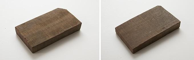 Milan wood keepsake #14 (left) 2 x 3.875 x .625 in. Milan wood keepsake #15 (right): 2.125 x 3.875 x .5 in.