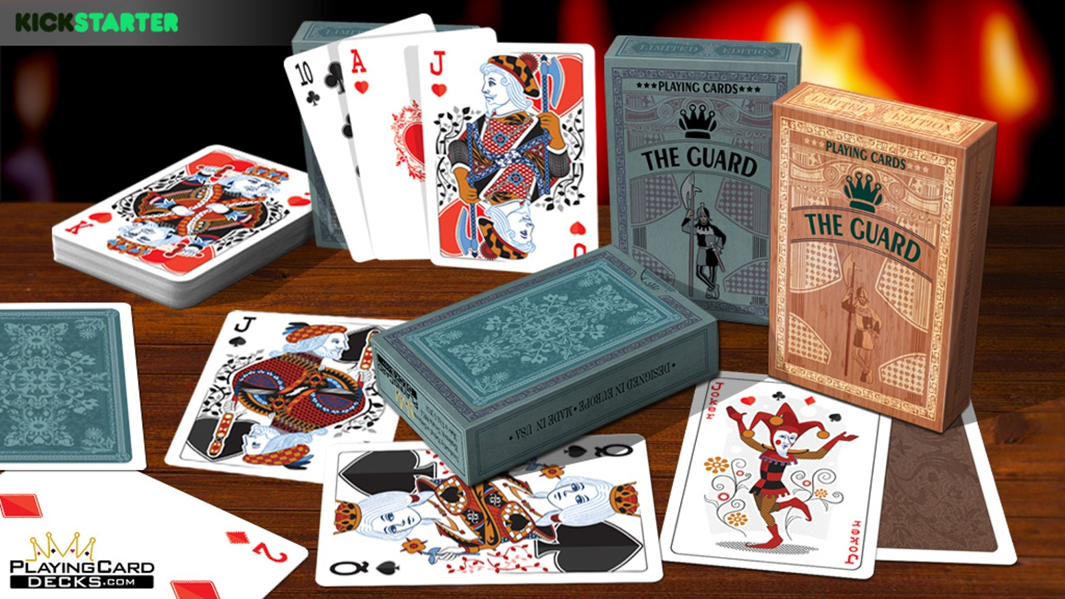 A luxury 2 deck set designed in Europe & printed in USA. Matching faces & complimentary contrasting backs for easy 2 deck game play.