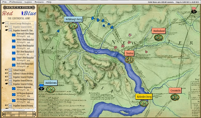 Screen capture of the General Staff Scenario Editor Module (Battle of Trenton). Units are dragged from the Order of Battle Table on the left and positioned as desired on the map at right. Click to enlarge.