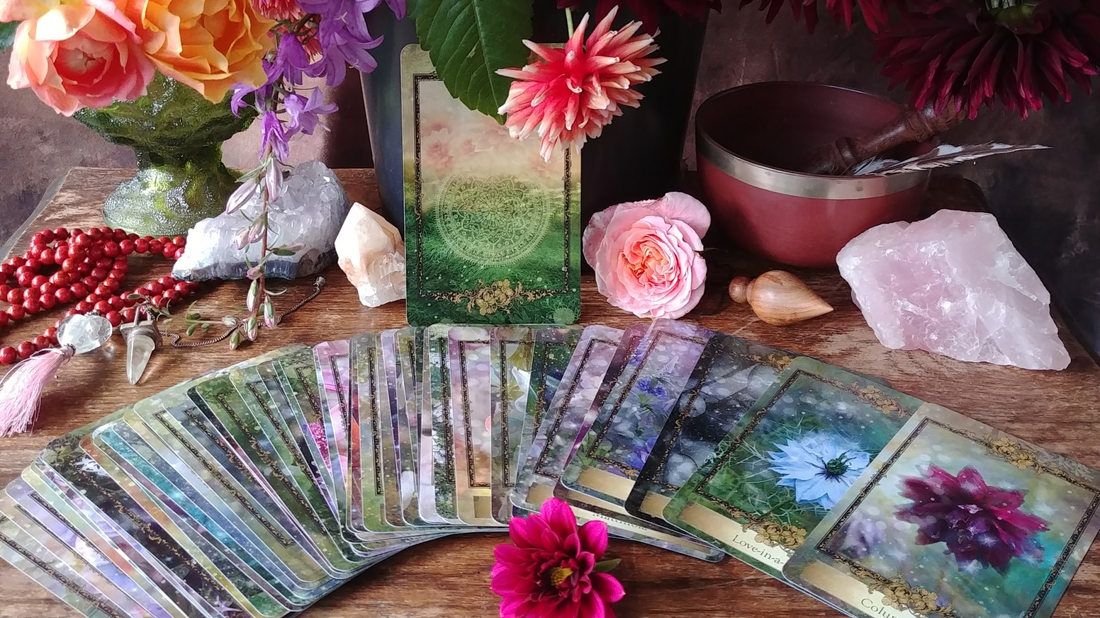 48 Card Oracle. Access your intuition and connections to Spirit and the natural world thru messages from Flowers. Sister deck: Eco Heart Oracle.