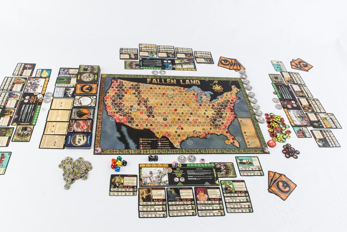 A massive thematic board game set in the ruinous aftermath of post-apocalyptic America. Featuring unlimited sandbox style play, the elements of a strategy board game, with card building and role-playing, all driven by macabre stories of a world gone mad.