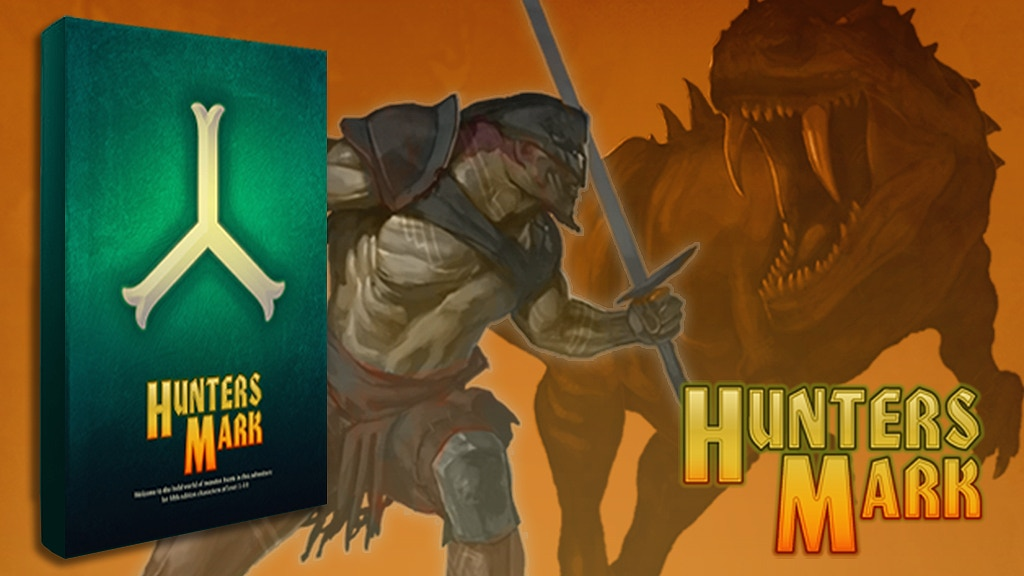 Hunters Mark Adventure immerses you into the world of monster hunters. New 5E options, now in Hardcover.