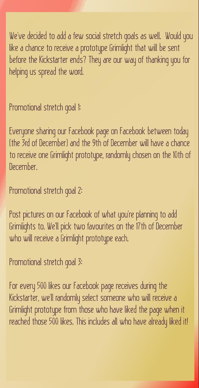 Bonus promotional stretch goals! https://www.facebook.com/grimlightmedia/
