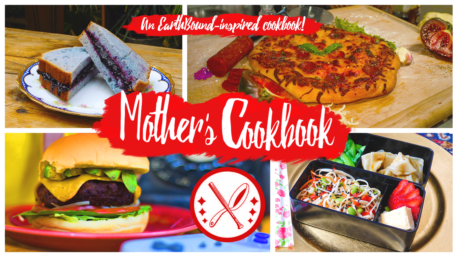 A professional fan-made EarthBound-inspired cookbook filled with original recipes, delicious nostalgia, and beautiful photography.