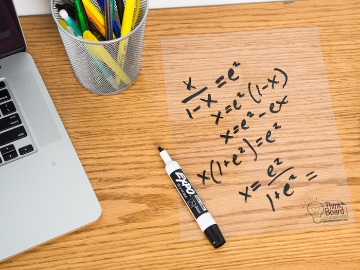 Think Board is a whiteboard film that can turn any surface into a dry erase board! Just peel & stick! Cover your walls, desks, tables and more!