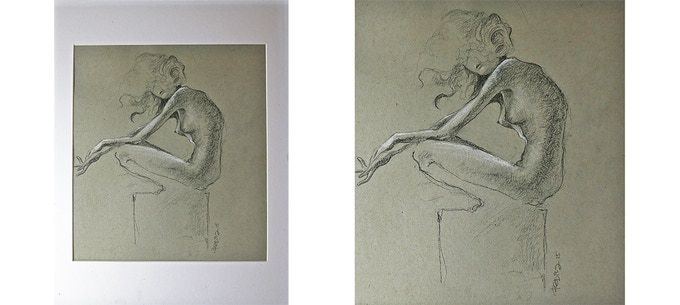 Sketch by Bong Redila. Charcoal and pastel on paper, 25.4 cm x 22.86 cm. Matted and framed.