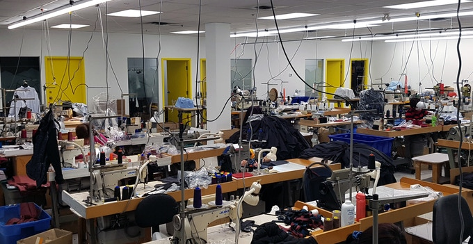 All jackets are manufactured in our own factory here in Vancouver, Canada