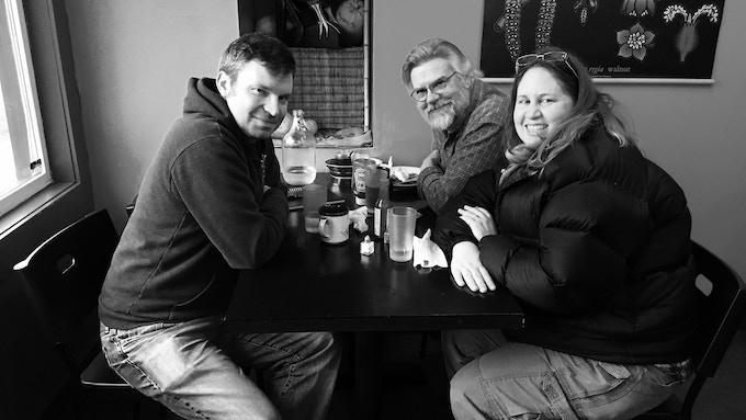 Chris and me with Christina Kortum of Ravenous Studios.