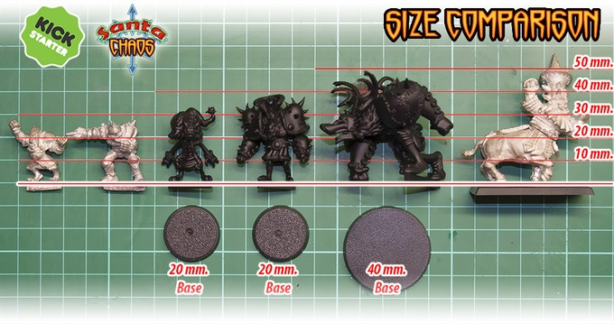 Model and bases shown are here only to compare sizes. The team will be provided with 32 mm bases