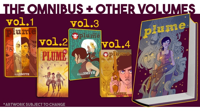 Kickstarter Editions of Plume Volume 4 and the Omnibus will be matte hardcovers with a  UV spotless