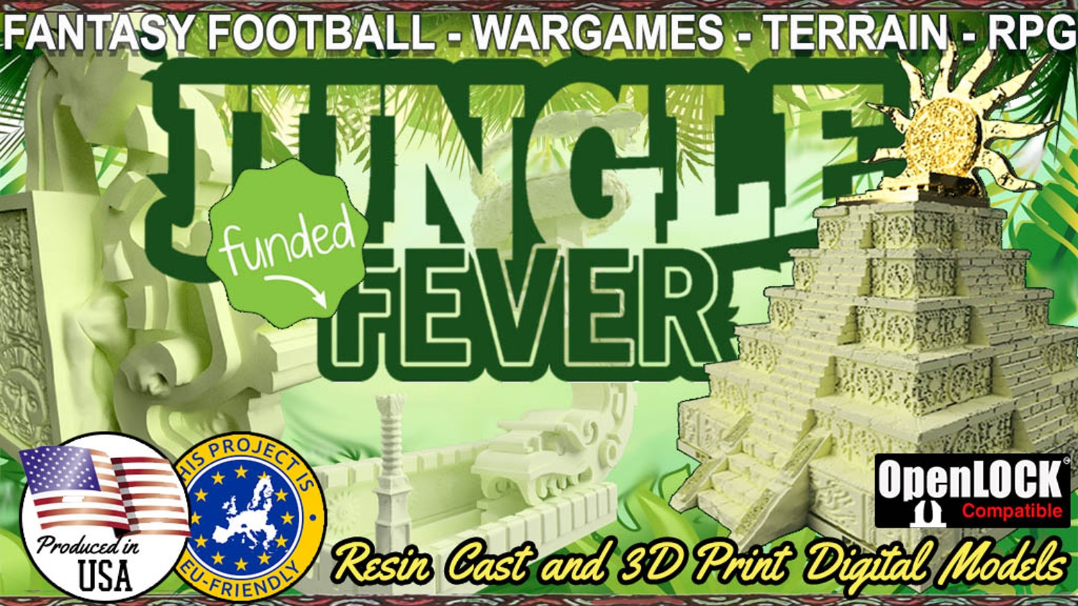 Jungle Fever! Resin cast models and 3D printing digital OpenLOCK STL files. For wargames, RPG, terrain, fantasy football, dice tower.