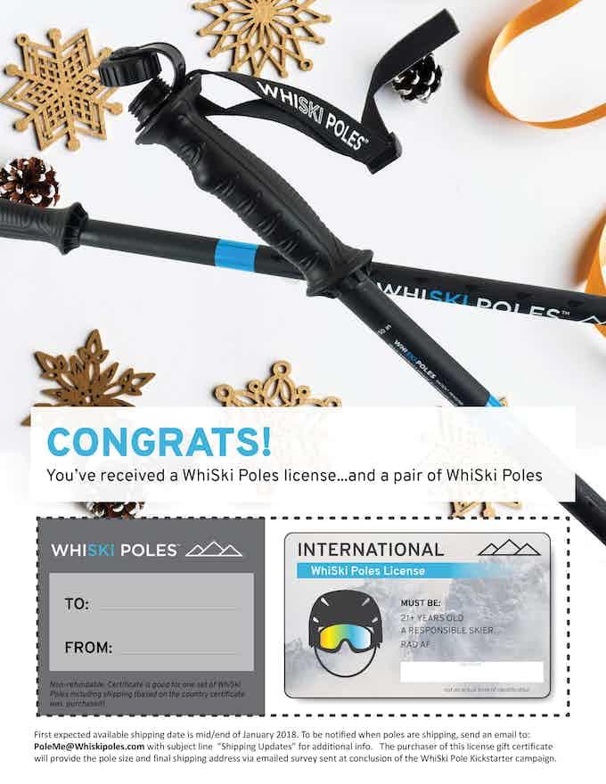 WhiSki Pole License (gift certificate)