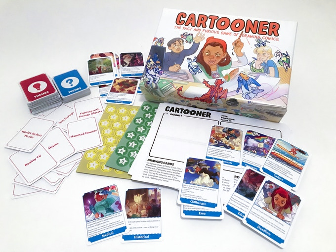 Box contains: Trends deck, Themes deck (illustrated), tokens, pre-printed drawing paper, and rulesbook