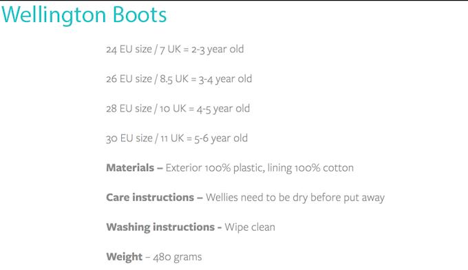 Sizing Chart Wellington Boots