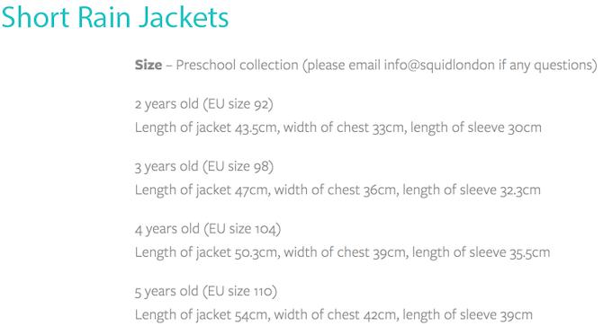 Sizing Chart of Short Jacket