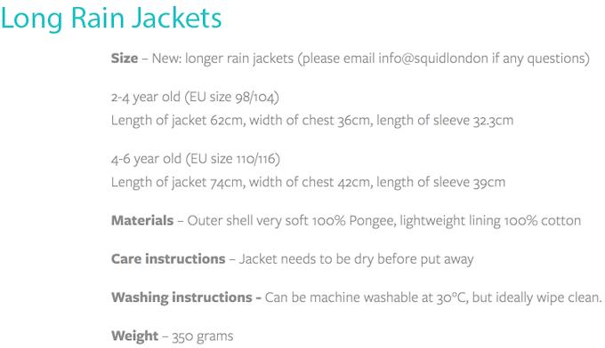 Sizing Chart of Long Jacket