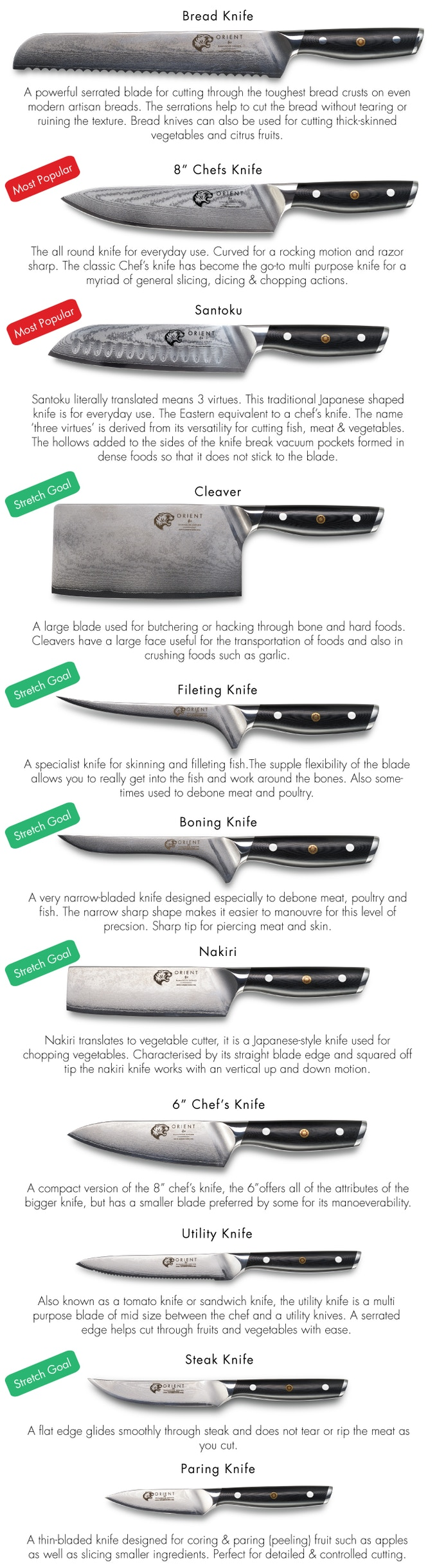 orient kitchen knives the damascus series chef knife set by orient knives kickstarter. Black Bedroom Furniture Sets. Home Design Ideas