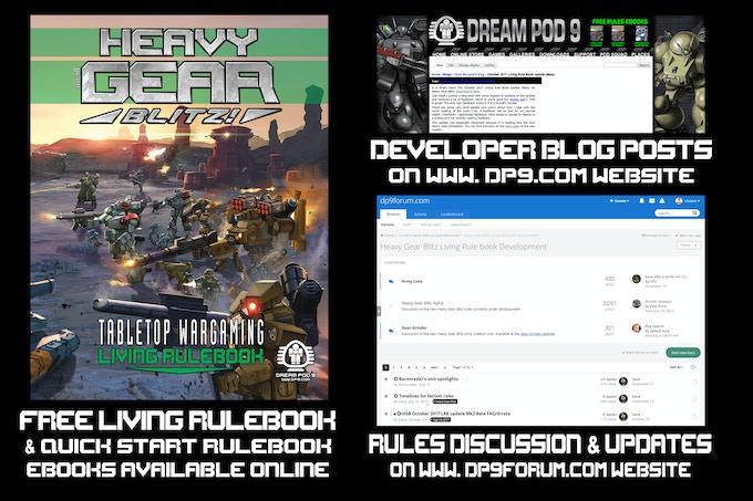 Heavy Gear Blitz Living Rulebook ebook, Developer Blog, and DP9 Forum.