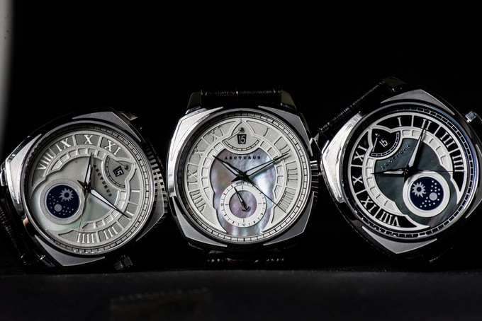 A trio of the LC-1 Mother of Pearl Dials