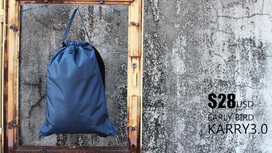 Karry3.0 minimal drawstring backpack(bag) w/ thick soft rope