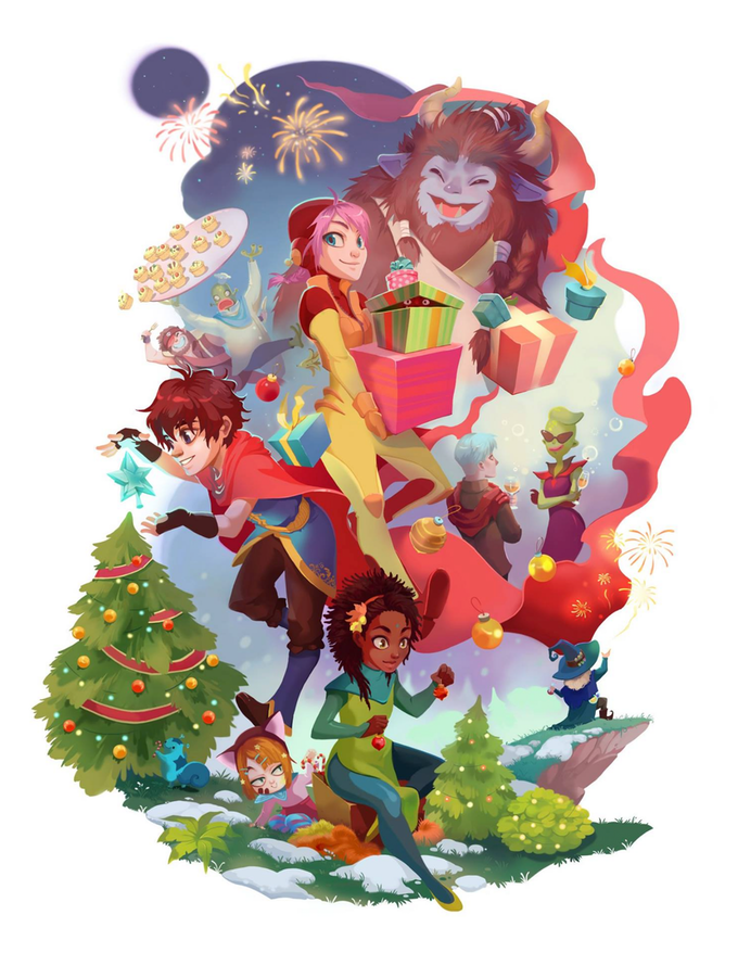 Christmas card with Deiland's characters