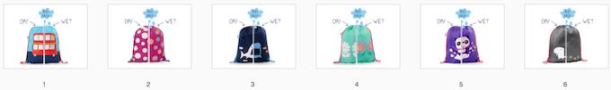 Reward #2 - Drawstring Bags: 1. Bus 2. Polka Dot 3. Shark 4. Flower 5. Panda 6. Dino