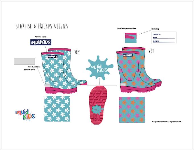 Reward #4 - Starfish Wellington Boots: Sizes 2/3/4/5 years old