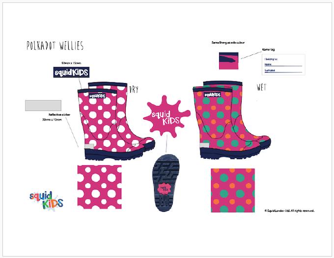 Reward #6 - Polka Dot Wellington Boots: Sizes 2/3/4/5 years old