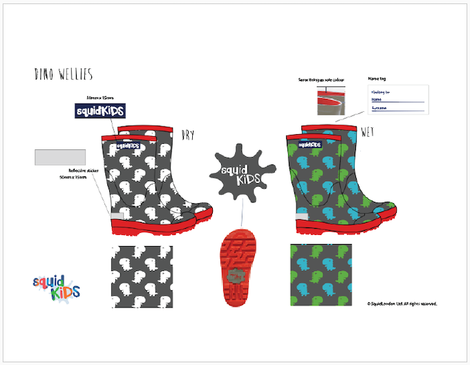 Reward #7 - Dino Wellington Boots: Sizes 2/3/4/5 years old