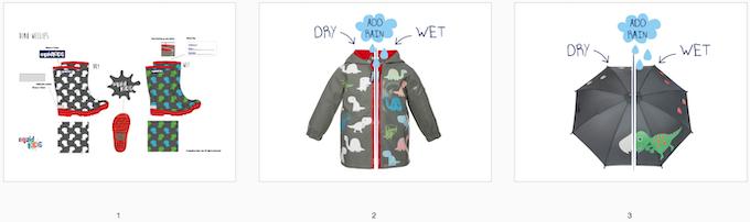 Reward #13 - Dino Rainwear Bundle: 1. Wellington Boots (size 2/3/4/5) 2. Short Jacket (size 2/3/4/5) 3. Umbrella