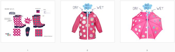 Reward #14 - Polka Dot Rainwear Bundle: 1. Wellington Boots (size 2/3/4/5) 2. Short Jacket (size 2/3/4/5) 3. Umbrella
