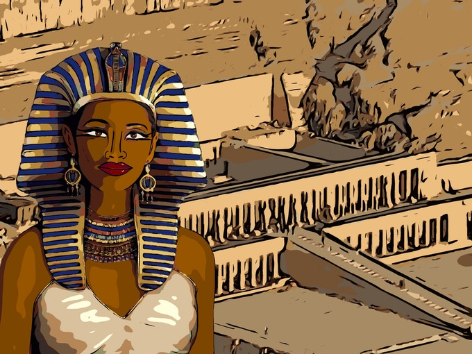 Now you must know who this is! Ahh, that's why we big people will learn from this book too! Here's a clue: She's wearing the crown of a Male Pharaoh! Yes! You've got it! Hatshepsut is her name.