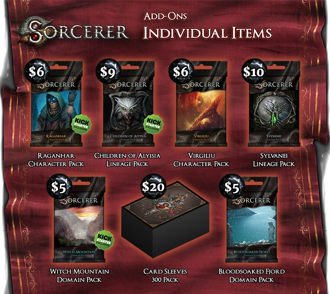 The Sorcerer Tier does not include sleeves, but does come with these Character, Lineage or Domain expansion packs. The 300 Sorcerer Sleeves is enough for every card that goes in your deck including all the add-ons and stretch goals!
