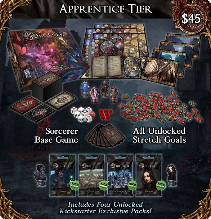 Pledge for the $45 Apprentice tier and you will get the Sorcerer base game plus all unlocked Stretch Goals!