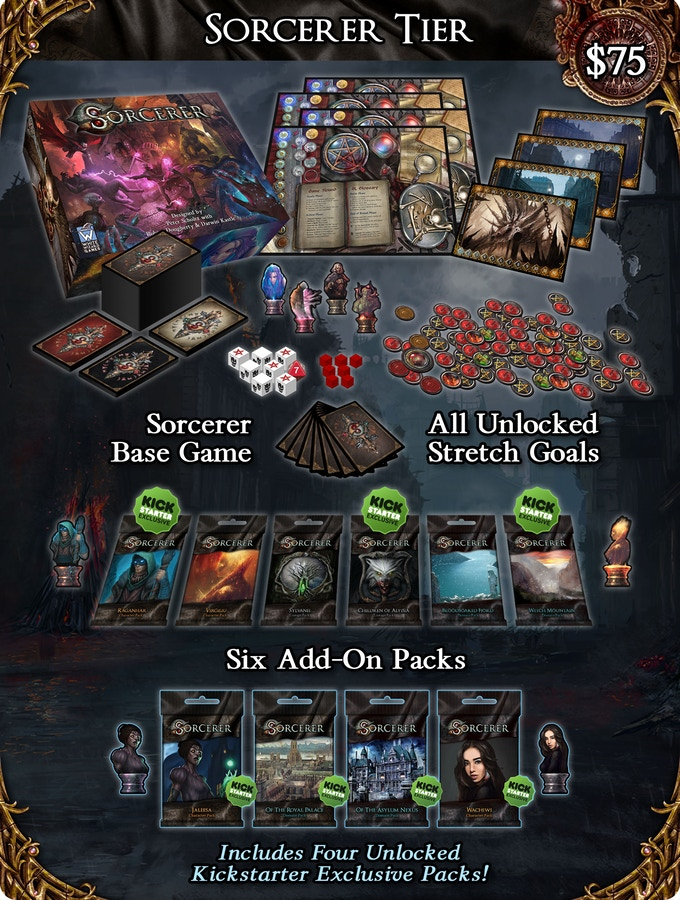 Pledge for the $75 Sorcerer tier and you will get the Sorcerer base game, all six expansion packs and all unlocked Stretch Goals!
