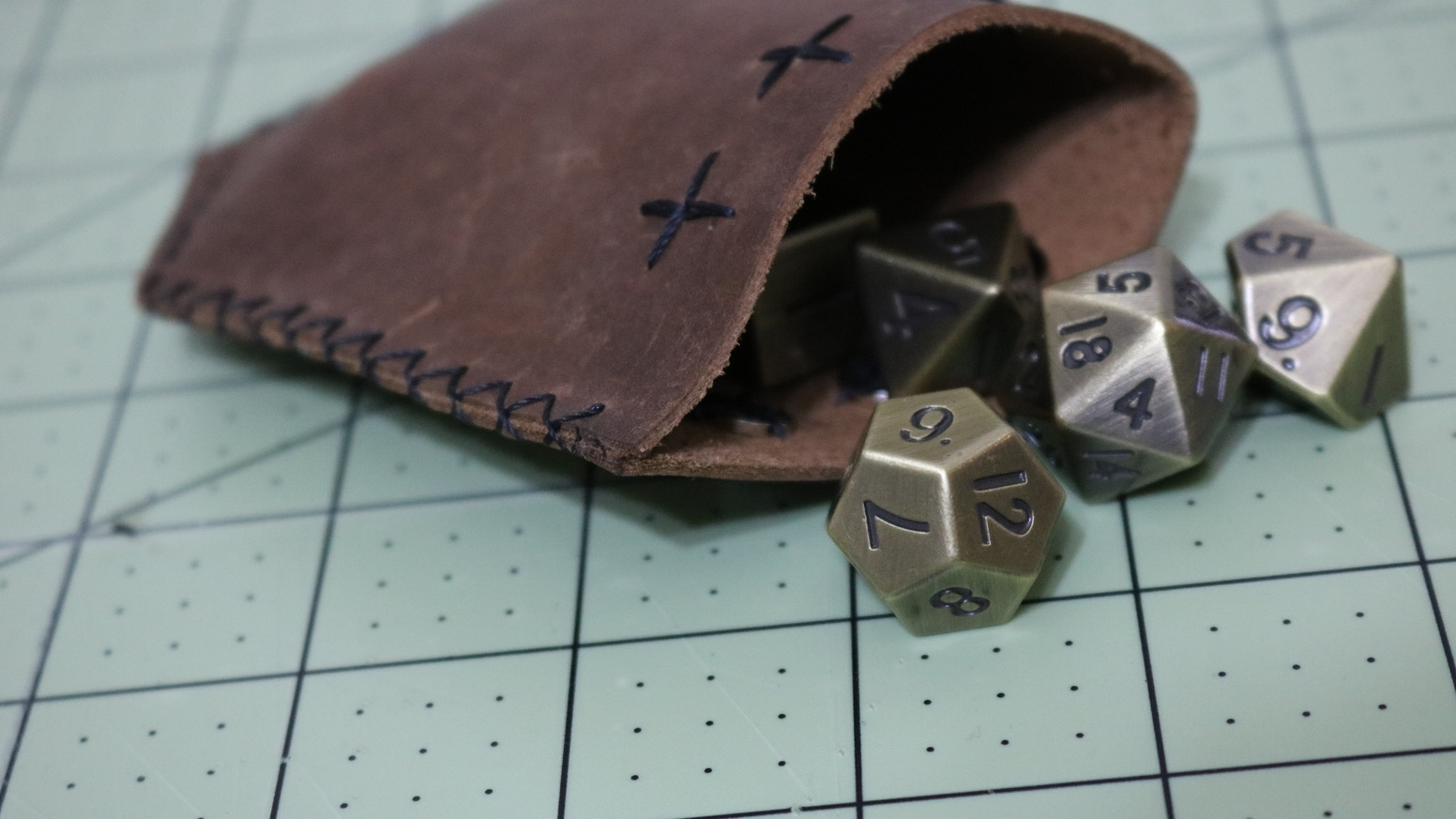 Hand stitched Italian leather dice bags designed with a low profile for comfortable pocket carry. Designed by a gamer, for gamers.