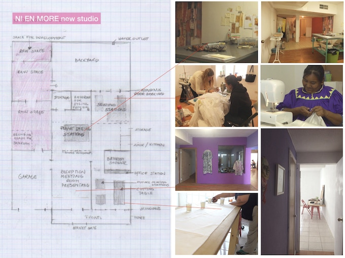 Plan over our new studio. Area in pink are now raw space with great potential for development