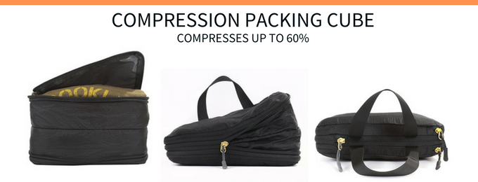 Compression Packing Cube saves 60% of space in your bag. Contains front and back compartment for more storage and less occupied space.