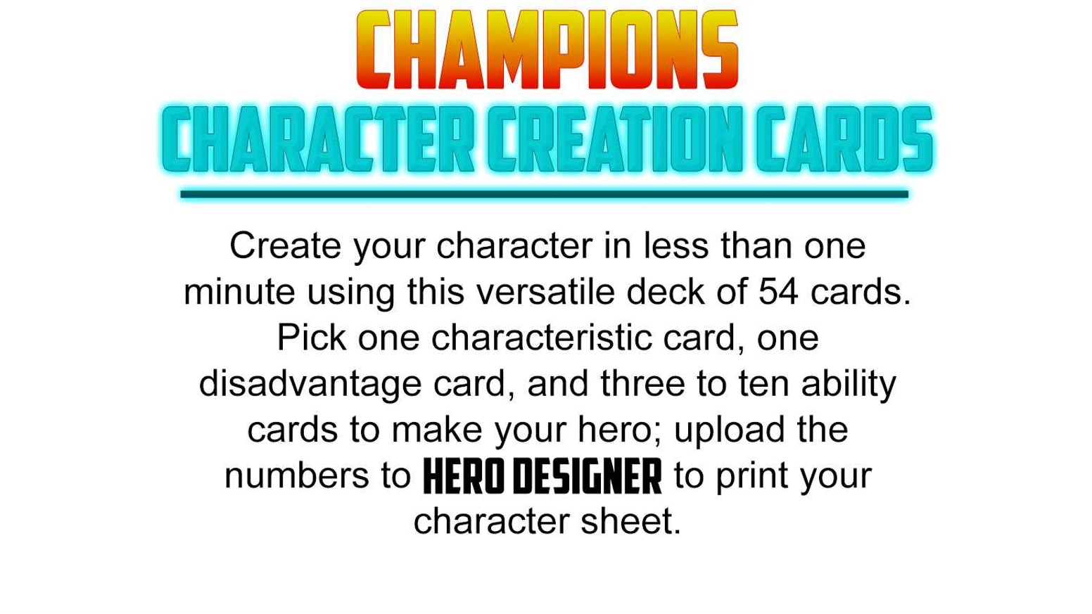 Design Your Character And Play : Champions character creation cards by high rock press