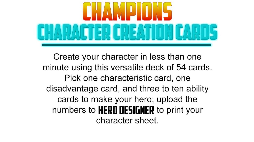Champions Character Creation Cards project video thumbnail