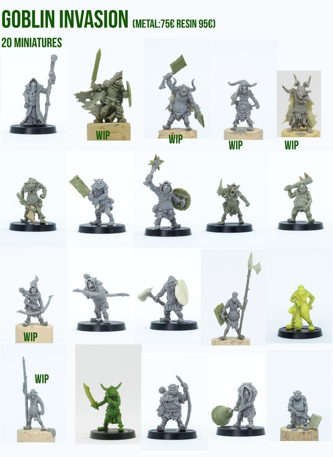 The Goblin Invasion pledge, 20 miniatures, all different!