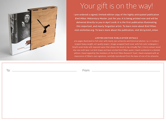 """Sample """"Gift is on its way"""" card (not necessarily exact design)"""