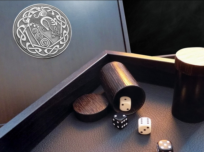 Premium Wooden Dicebox - Close up
