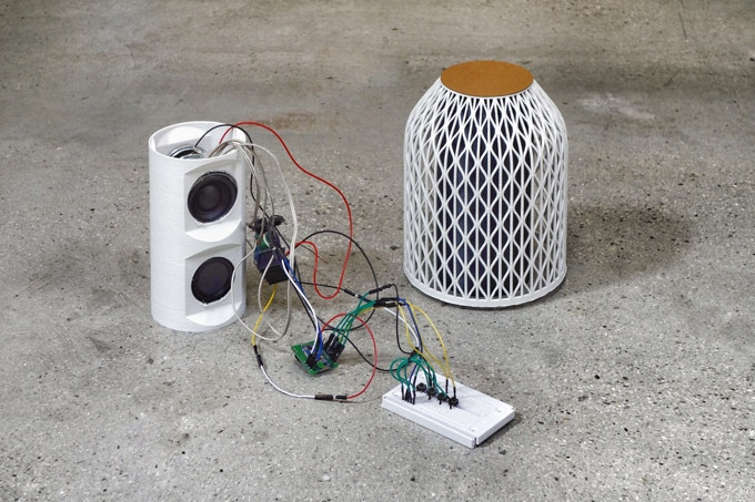 Very first OWA speaker prototype with electronic core