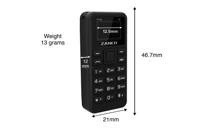 Dimensions of the Zanco tiny t1
