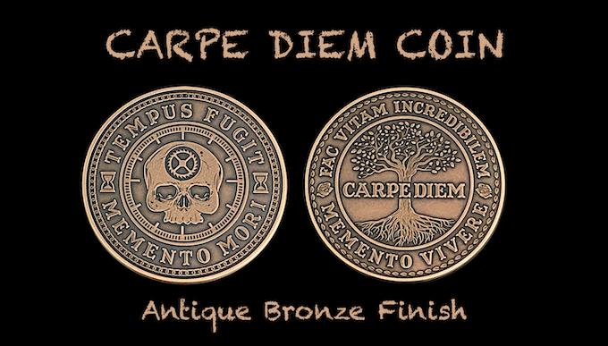 Carpe Diem Coin in Antique Bronze Finish