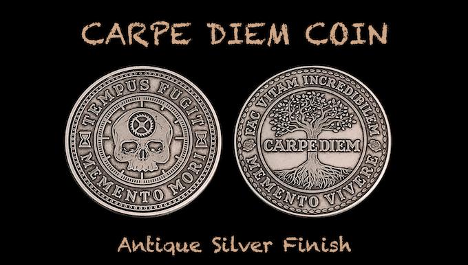 Carpe Diem Coin in Antique Silver Finish